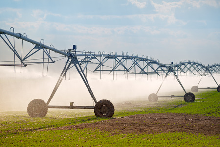 agriculture industrial: Automated Farming Irrigation Sprinklers System in Operation on Cultivated Agricultural Field Stock Photo
