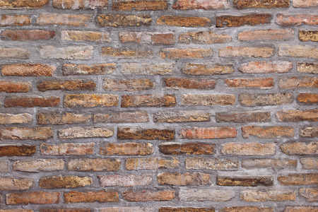 backdrop grungy: Background pattern of weathered old brick wall texture, grungy rusty brushed blocks as urban architecture backdrop.