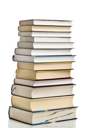 lexicon: Stack of Used Books as Education Concept on White Background