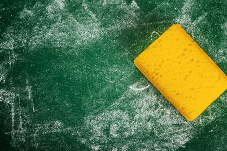 sponge: Yellow Sponge and Green Chalkboard with Blank Copy Space for Text