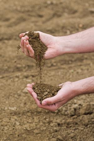 agricultural farm land: Male Farmer Examines Soil Quality on Fertile Agricultural Farm Land