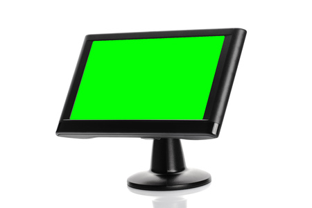 green screen: Car GPS Navigation Device with Green Screen As Copy Space Isolated on White Background