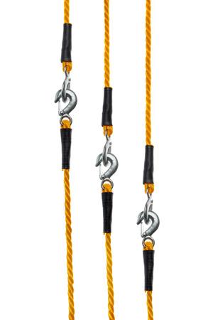 hook up: Orange Towing Ropes with Hooks Connected, Isolated on White Background