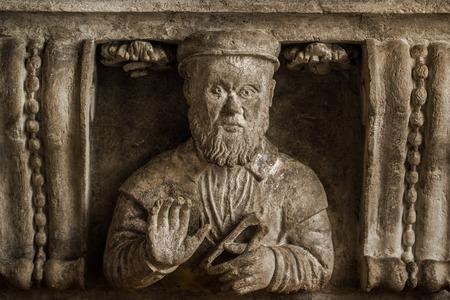 stonemason: Bracket with Stonemason Bust as Medieval Architectural Decoration