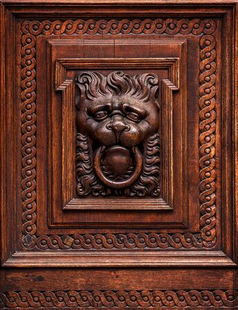 carvings: Lion Head as Wood Carving in Old Vintage Brown Massive Wooden Door Stock Photo