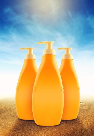 suntan: Suntan Lotion Bottles in Sand on Sunny Seaside Beach as Blank Copy Space for text or graphics Stock Photo