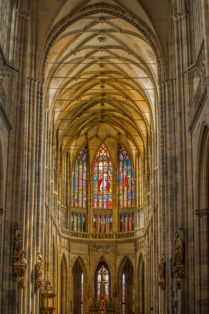 vitrage: PRAGUE, CZECH REPUBLIC - MAY 22, 2015: Interior with Beautiful Vitrage Glass Window of St. Vitus Cathedral in Prague Castle Hradcany.