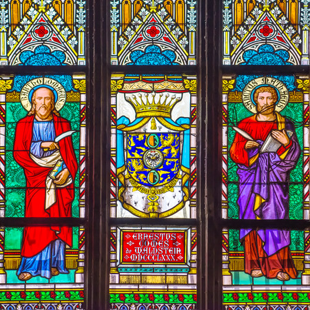 vitrage: PRAGUE, CZECH REPUBLIC - MAY 22, 2015: Interior Decoration Stained Religious Vitrage Glass Window of St. Vitus Cathedral in Prague Castle Hradcany.
