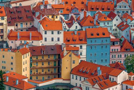 distinctive: Prague Houses and Rooftops, Distinctive Cityscape of Czech Republic Capital Architecture