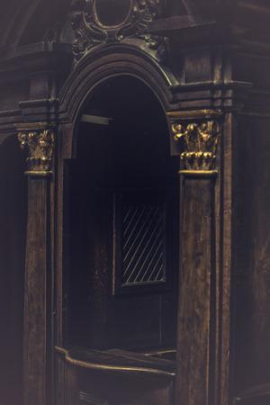 catholic: Catholic Church Confessional Booth, Vintage Retro Tone Effect with Vignette