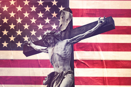 crucifixion: Religious Concept, Christianity in United Sattes of America with Jesus Christ Crucifixion against USA Flag, Retro Toned Effect Stock Photo