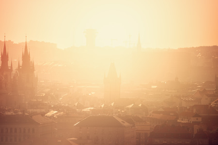 and distinctive: Beautiful Panoramic View of Prague Cityscape with Distinctive Architecture Landmarks on Misty Morning, Vintage Retro Tone effect Stock Photo