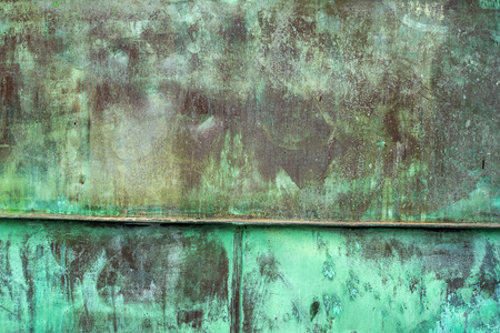 patina: Oxidized Green Copper Metal Plate Texture as Industrial Rustic Background