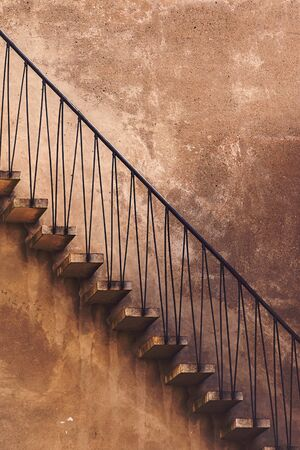 concrete steps: Old Vintage Concrete Staircase, Side View, Retro Toned Architectural Detail Stock Photo