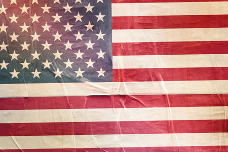 citizenry: USA Flag Print on Grunge Poster Paper, Retro Tone Vintage Effect Stock Photo