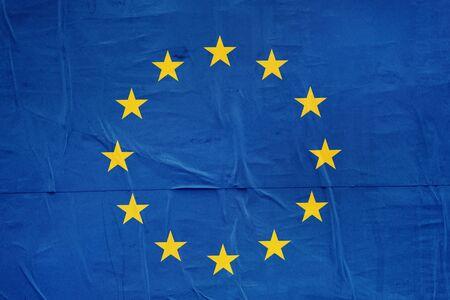 citizenry: European Union EU Flag Print on Grunge Poster Paper, Retro Tone Vintage Effect
