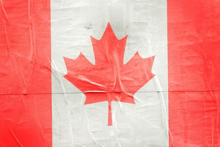 citizenry: Canada Flag Print on Grunge Poster Paper, Retro Tone Vintage Effect Stock Photo