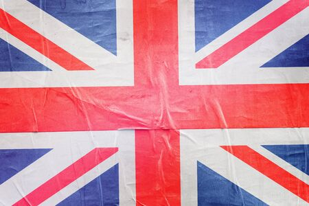 citizenry: Great Britain  Flag Print on Grunge Poster Paper, Retro Tone Vintage Effect Stock Photo