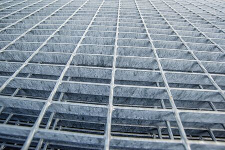 Construction Industry Metal Grid Plates as Modern Constructive Material, Selective Focus