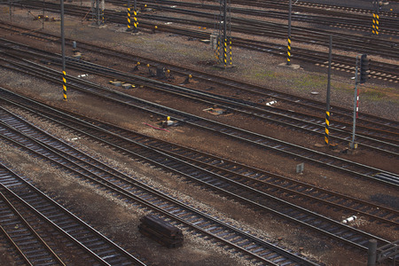 intersecting: Aerial Top View of Intersecting Rails at Train Railway Station Stock Photo