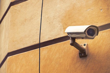 closed circuit: Closed Circuit TV Video CCTV Security Camera for Private Property Surveillance Mounted on Building Wall