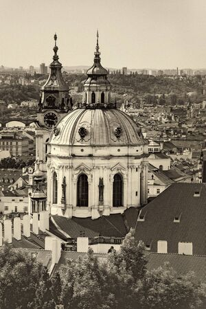 'saint nicholas': Prague Saint Nicholas Church located on Mala Strana PArt of the Old Town, Sepia Retro Toned Image