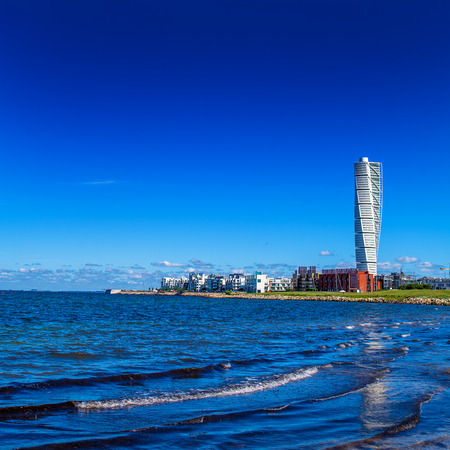 square image: MALMO, SWEDEN - JUNE 26, 2015: Malmo West Harbor Oresund Area Cityscape with Turning Torso as Distinctive Landmark of this Swedish Town and Largest Building in Sweden, as well as in whole Scandinavia, Square Image
