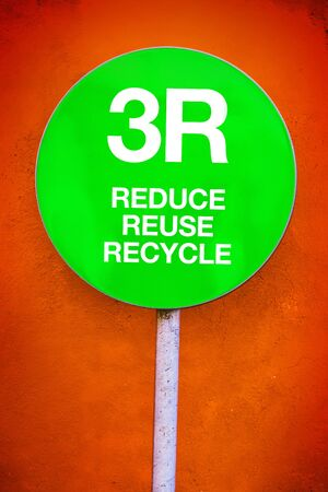 recycle sign: 3R - Reduce, Reuse, Recycle, Green Sign for Ecology and Environmental Themed Concept
