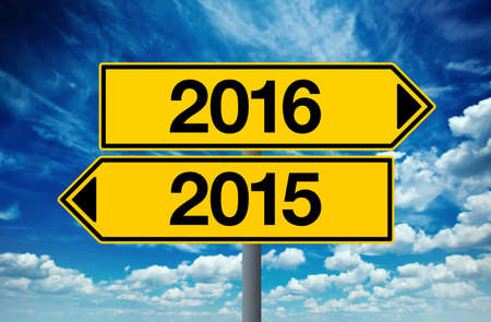 opposite: 2016, Happy New Year Street Opposite Direction Sign Concept Stock Photo