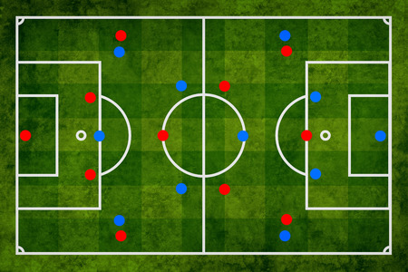 football pitch: Soccer strategy and tactical preparation of the game, abstract scheme, football pitch illustration