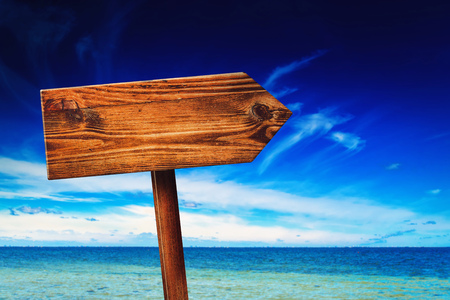 summer sign: Direction Signpost on Seaside Beach, Blank Rustic Wooden Sign in Coastal Summer Vacation Resort