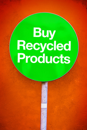 reprocess: Buy Recycled Products Message on Green Sign Stock Photo