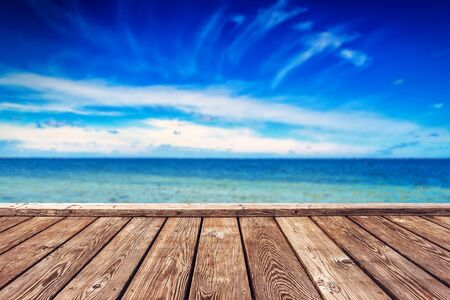horizon over water: Wooden Boardwalk Pier and Open Wide Sea and Horizon over Water, Background for Object Placement