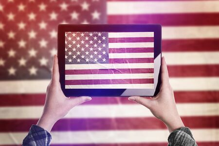 us government: Person Taking Picture of United States of America Flag with Digital Tablet Computer, Vintage Tone Retro Effect