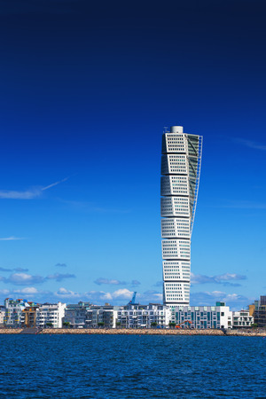 oceanic: MALMO, SWEDEN - JUNE 26, 2015: Malmo West Harbor Area Cityscape with Turning Torso as Distinctive Landmark of this Swedish Town, Malmo has an mild oceanic climate mainly because of the Gulf Stream. Editorial
