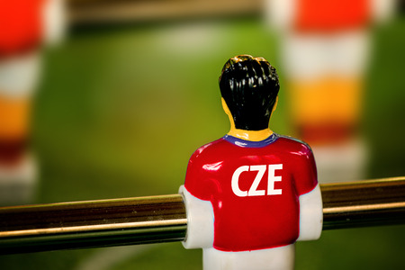 czech: Czech National Jersey on Vintage Foosball, Table Soccer or Football Kicker Game, Selective Focus, Retro Tone Effect