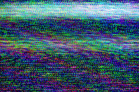 TV damage, bad sync TV channel, RGB LCD television screen with static noise from poor broadcast signal reception as analogue technology background.