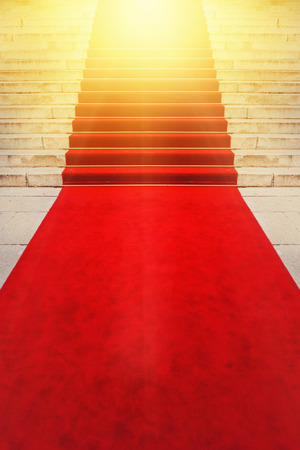 carpet: On Red Carpet Concept for Vips and Celebrities Exclusive Ceremonial Celebration Event. Stock Photo