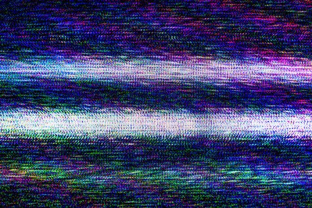 TV damage, bad sync TV channel, RGB LCD television screen with static noise from poor broadcast signal reception as analogue technology .