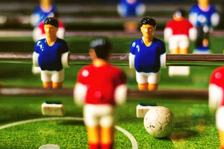 Table soccer game, retro tone effect, selective focus with shallow depth of field Stock Photo