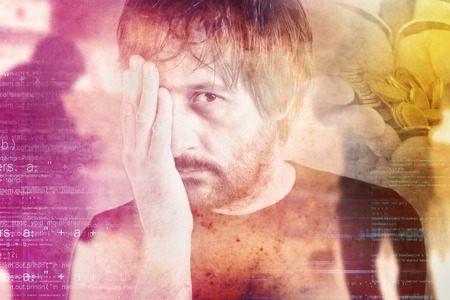 money problems: Double exposure portrait of man in financial trouble, money problems, drowned by debt concept. Stock Photo