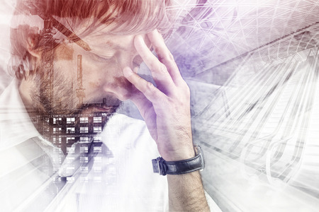 building planners: Double exposure portrait of male architect, tired and exhausted from construction project planning. Stock Photo