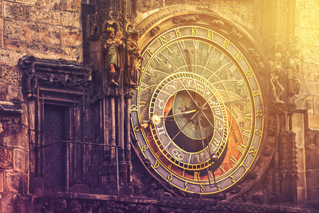 esoteric: Astronomical Clock on Prague Old Town Square, Famous Tourist Sightseeing with Vintage Retro Tone Effect