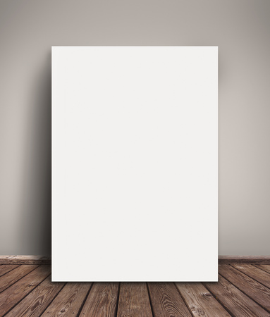 poster: Blank Paper Poster Mock Up Leaning Against  Gray Wall as Copy Space for Design and Text. Stock Photo