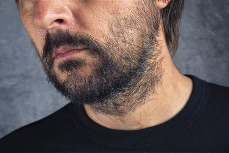 man with beard: Male facial hair, adult caucasian man with beard