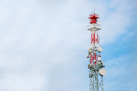 gsm: Communication Tower and GSM Antenna Transmitters with Blank Space