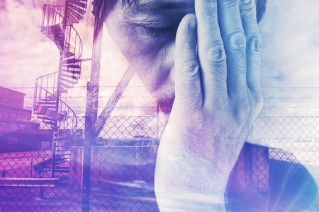 a situation alone: Double exposure portrait of tired exhausted man in trouble, problems in life Stock Photo