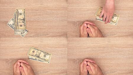 action fund: Corruption concept, man giving bribe money to woman, top view action sequence of images collage Stock Photo