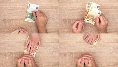 lend a hand: Corruption concept, man giving bribe money to woman, top view action sequence of images collage Stock Photo