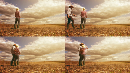 arable farming: Young farmer couple planning new seeding season on arable land, organic farming production at cultivated field, image sequence collage Stock Photo